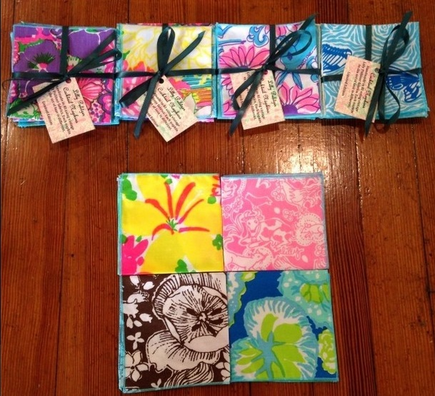 Handmade coasters/cocktail napkins in Lilly Pulitzer prints, $19.95, Green Envy Eco-Boutique