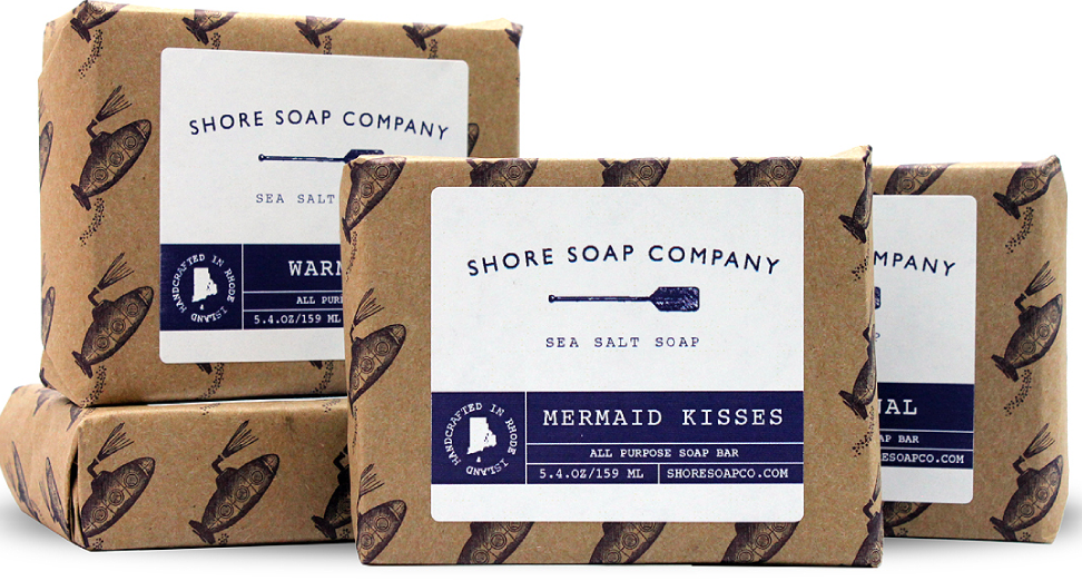 Handcrafted sea salt soap made right here in Newport, RI, Shore Soap Co.