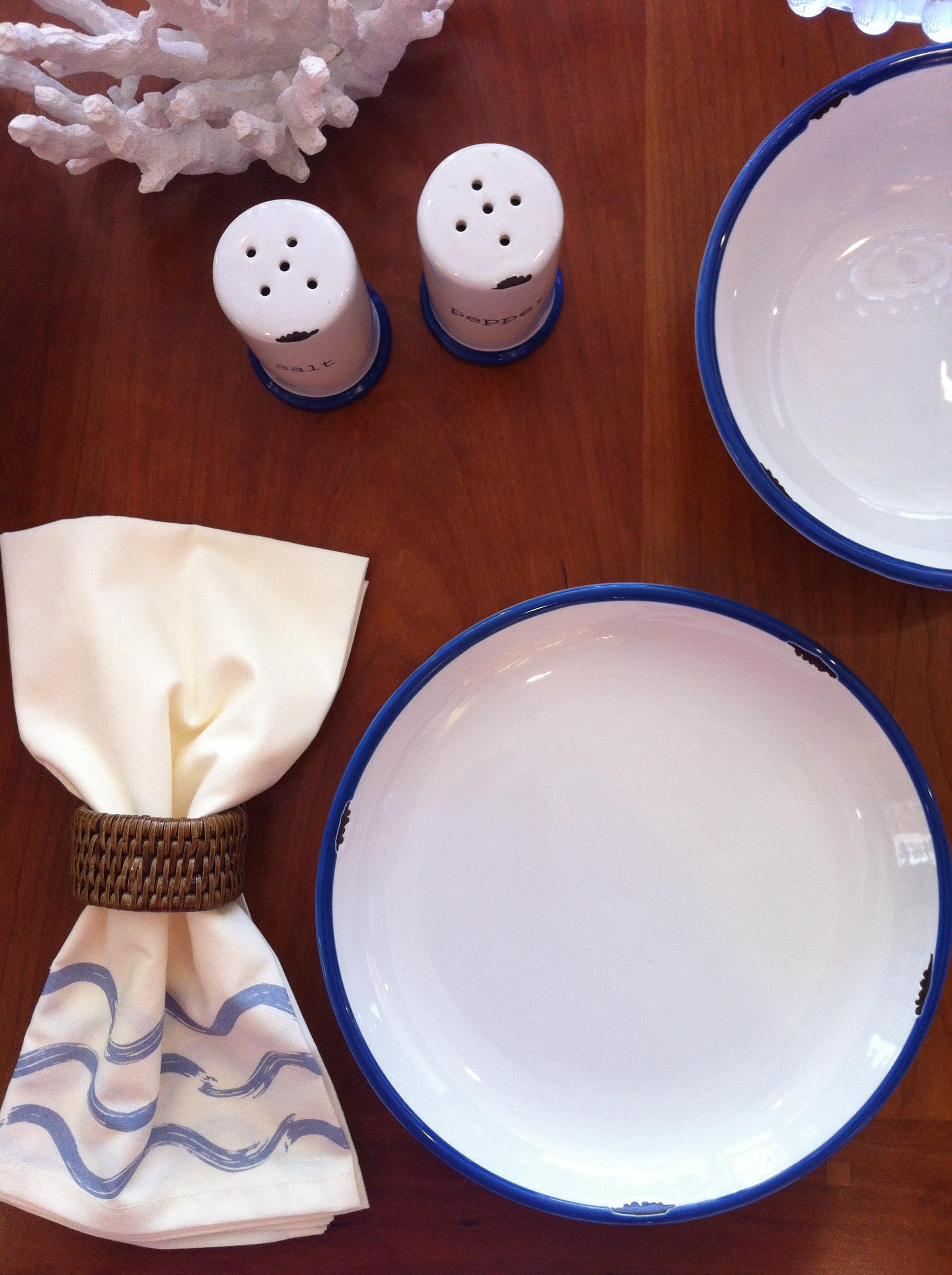 Rattan Napkin Ring, $4 Wave Napkin, $8 Ceramic Enamel-Look Tableware, $10-$16