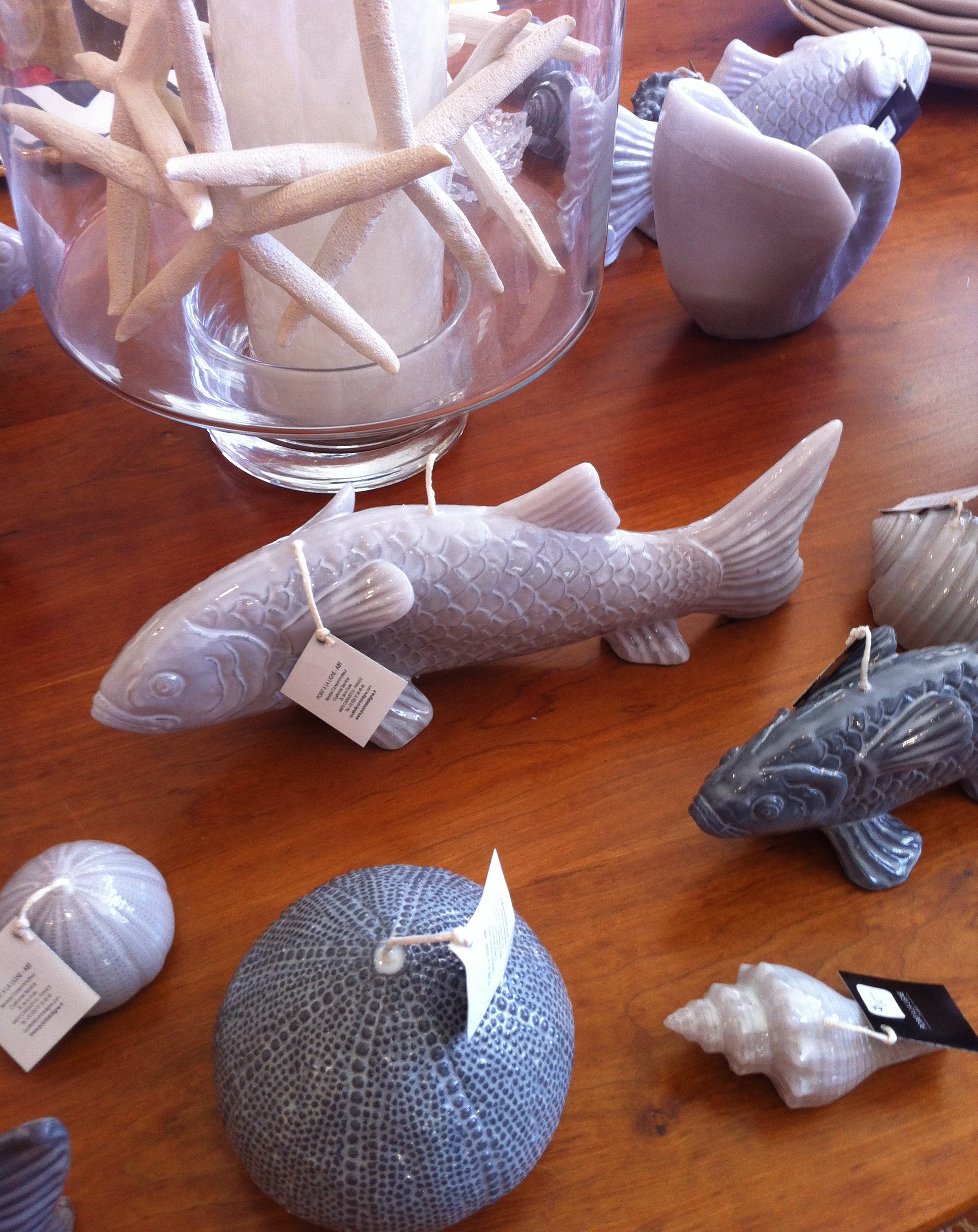 Fish and Shell Candles, $10-$34